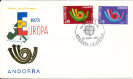 French Andorra FDC 28-4-1973 EUROPA CEPT Complete Set Of 2 With Cachet - Europa-CEPT