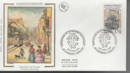 FDC - Enveloppe 1er Jour - TRAMWAY ELECTRIQUE - 28 Octobre 1989 - CLERMONT FERRAND - FDC