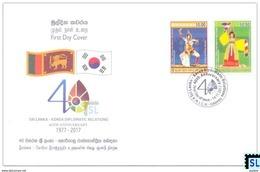 Sri Lanka Stamps 2017, Joint Issue, 40th South Korea Diplomatic Relations, FDC - Sri Lanka (Ceylon) (1948-...)