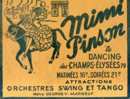 17A . PARIS. MIMI PINSON Le Dancing Des Champs Elysees. - Visitekaartjes