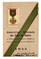 Carte A.N.C.G   Croix De Guerre 1933 - Andere Sammlungen