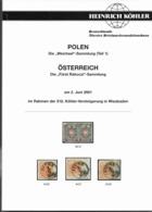 """312. AUKTION KÖHLER - ÖSTERREICH """" FÜRST RAKOCZI"""" SAMMLUNG, POLEN """"WEICHSEL"""" SAMMLUNG  2001 - Cataloghi Di Case D'aste"""