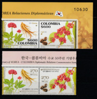 Corée Du Sud Colombie 2012 Emission Commune Fruit Café Ginseng Korea Colombia Joint Issue Coffee Ginsen - Gemeinschaftsausgaben