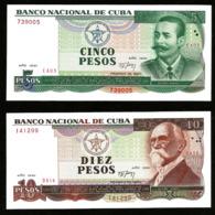 * Cuba 5 10 Pesos 1991 ! UNC ! 2 Notes - Cuba