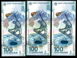 * Russia 100 Rubles ! 2014 Olympic ! Set 3 Bil Series AA Aa Aa! UNC ! - Russia