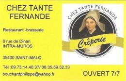 Carte De Visite - Chez Tante Fermande - Crêperie Restaurant-Brasserie- Saint-Malo - Visitekaartjes
