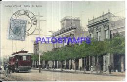 123805 PERU CALLAO STREET CALLE DE LIMA & TRANVIA TRAMWAY CIRCULATED TO FRANCE POSTAL POSTCARD - Perù