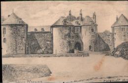 ! [80] Handgemalte Ansichtskarte Schloss Peronne , Somme - Peronne