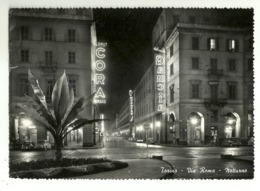 """5922 """"TORINO-VIA ROMA-NOTTURNO""""INSEGNE AL NEON CORA,GANCIA,HOOVER E FIAT-CART. POST. ORIG. SPED.1958 - Other"""
