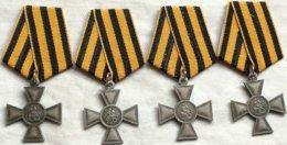 RÉPLICA Lote 4 Medallas Cruz De San Jorge. 1º, 2º, 3 Y 4º Grado. 1807-1913. Rusia Imperial. Zar. La Cruz De San Jorge - Medallas Y Condecoraciones