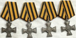 RÉPLICA Lote 4 Medallas Cruz De San Jorge. 1º, 2º, 3 Y 4º Grado. 1807-1913. Rusia Imperial. Zar. La Cruz De San Jorge - Medailles & Militaire Decoraties