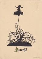 AK Durch! - Scherenschnitt - Plischke-Karte - Werbestempel Rheumabad Aachen - 1930 (45099) - Scherenschnitt - Silhouette