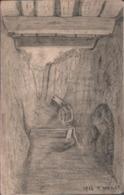 ! [80] Handgemalte Ansichtskarte Schützengraben Sommefront, 1. Weltkrieg, Guerre, 1916 - Guerra 1914-18