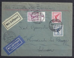 Germany AIRMAIL/LUFTPOST LETTER-1930-from Frankfurt/Main To Basel-(arrival Cancel)-Airmail Labels - Germany