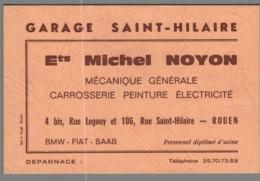 Carte De Visite - 76 - Rouen - Garage Saint Hilaire - Ets Michel Noyon - BMW FIAT SAAB - Visitekaartjes