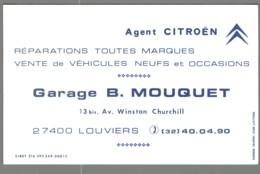 Carte De Visite - 27 - Louviers - Agent Citroën - Garage B. Mouquet - Visitekaartjes