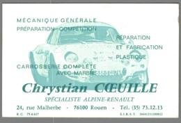 Carte De Visite - 76 - Rouen - Chrystian COEUILLE - Spécialiste Alpine Renault - Agent Citroën - 2 CV - Visitekaartjes