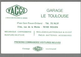 Carte De Visite - 76 - Rouen - Garage Le Toulouse - Yacco - Visitekaartjes