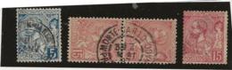 MONACO-TIMBRES N° 13 + N° 15 + 1 PAIRE N° 15 -ANNEE 1891-94 - - COTE : 41 € - Monaco