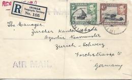 KENYA UGANDA TANGANYIKA 1939 Registered Cover Sent To Germany 2 Stamps, COVER USED - Kenya, Uganda & Tanganyika