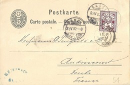"""PK 12  """"Trier, Basel"""" - Audincourt Doubs           1882 - Stamped Stationery"""