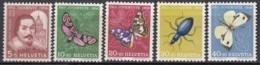 SCHWEIZ  632-636,  Postfrisch **, Pro Juventute 1956, Insekten - Pro Juventute