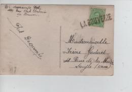 CBPN71/ TP 137 S/CP Fantaisie Griffe La Bouverie Qui Annule Le Timbre (Annulation De Fortune) > France - Postmark Collection