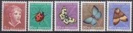 SCHWEIZ  575-579,  Postfrisch **, Pro Juventute 1952, Insekten - Pro Juventute