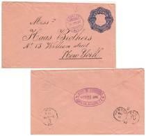 22c Coat Of Arms Envelope 1892 Correos, Acajutla To New York, N.Y.  Reverse Private Cachet Albt. W. Augsburg, Sant... - El Salvador