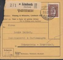 DR  420 EF, Auf Paketkarte Mit Stempel: Limbach 9.3.1929 - Germania