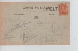 CBPN75/ TP 135 S/CP Ypres (14-18) Datée 6/4/19 C.Fortune Passe Partout Belgique-België + Griffe Thielt > Arlon - Postmark Collection
