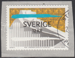 Sweden 2014 Used Sc 2721 12k National Library, Riga - Crease - Used Stamps