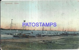 123811 ROMANIA CERNAVODA PORT & SHIP VIEW PARTIAL POSTAL POSTCARD - Roumanie