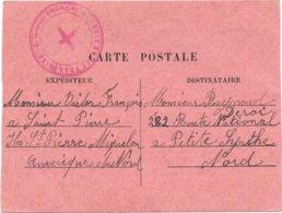 Carte Interzone De Saint Pierre Et Miquelon, Croix Rouge 1941, Deux Exemplaires Connus Interzone Map - Poststempel (Briefe)