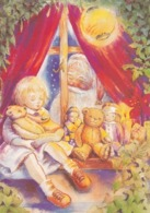 Santa Claus Looking From Outside The Window - Girl Sleeping And Holding Her Teddy Bear - Dolls - Santa Claus