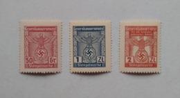 Germany Allemagne Deutschland General Government Generalgouvernement 3 Revenue Stamps Stempelmarke Unused - Neufs