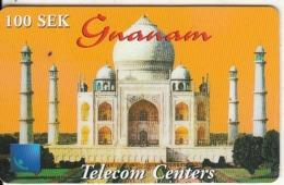 SWEDEN - Tajmahal, Gnanam Telecom Centers Prepaid Card 100 SEK, Exp.date 25/12/00, Used - Schweden