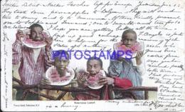 123848 US ART WATERMELON CONTEST BOY'S BLACK BREAK CIRCULATED TO BELGIUM POSTAL POSTCARD - Ohne Zuordnung