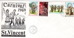 """CARNIVAL 1969 "" KINGSTOWN. SAINT-VINCENT ANTILLES ENVELOPPE OBLITEREE DE 4 TIMBRES - Carnival"