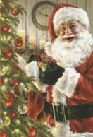 Santa Claus Holding A Christmas Present - Dona Gelsinger - Santa Claus