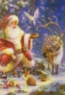 Santa Claus Feeding Bird Dove - Dona Gelsinger - Reindeer - Hare - Apples - Santa Claus