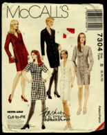 Vintage McCall`s Schnittmuster 7304  -  Frauen-Kleider Körperbetont  - Variationen   -  Size B  -  8-12 - Designermode
