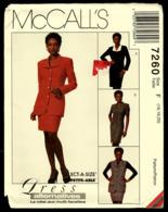 Vintage McCall`s Schnittmuster 7260  -  Damen-Jacke Weste Rock Kleid Ungefüttert  -  Size F  -  16-20 - Designermode