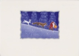 Brownie - Gnome - Elf Walking With Fox And Hare - Eva Melhuish - Unicef - Kerstmis