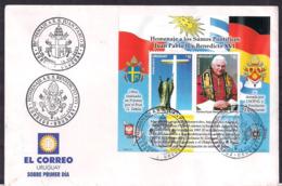 Uruguay - 2005 - FDC - Hommage Aux Souverains Pontifes Jean-Paul II Et Benoît XVI - Papas