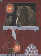 Brownie - Gnome - Elf Feeding An Apple To A Horse - Cat - Candle Votive - Eva Melhuish - Natale