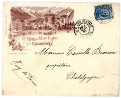 HAUTE SAVOIE ENV ILLUSTREE 1897 GD HOTEL DU MONT BLANC CHAMONIX E.CACHAT PROPRIETAIRE SAGE OBLIT AIX LES BAINS - Storia Postale
