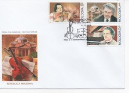 Moldova, Michel 514_516, Famous Musicians Lunchevici, Cupcea, A. Rubinstein, FDC - Musik