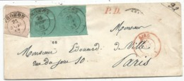 SARDE SARGENA 40C ROSE +5C VERT PAIRE TOUCHES ENVELOPPE COVER THONON 25 NOV 1853 HAUTE SAVOIE RARE - Sardegna