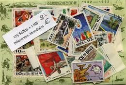 Paquetes De Sellos Mundiales  125 Sellos + 1 Hb Diferentes - Sellos